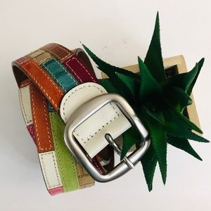 Fossil Multicolored Patterned Leather Belt Sz M